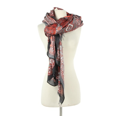 Gucci Floral Silk Sarong Style Scarf