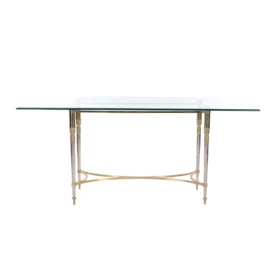 Contemporary Neoclassical Style Brass and Glass Top Dining Table