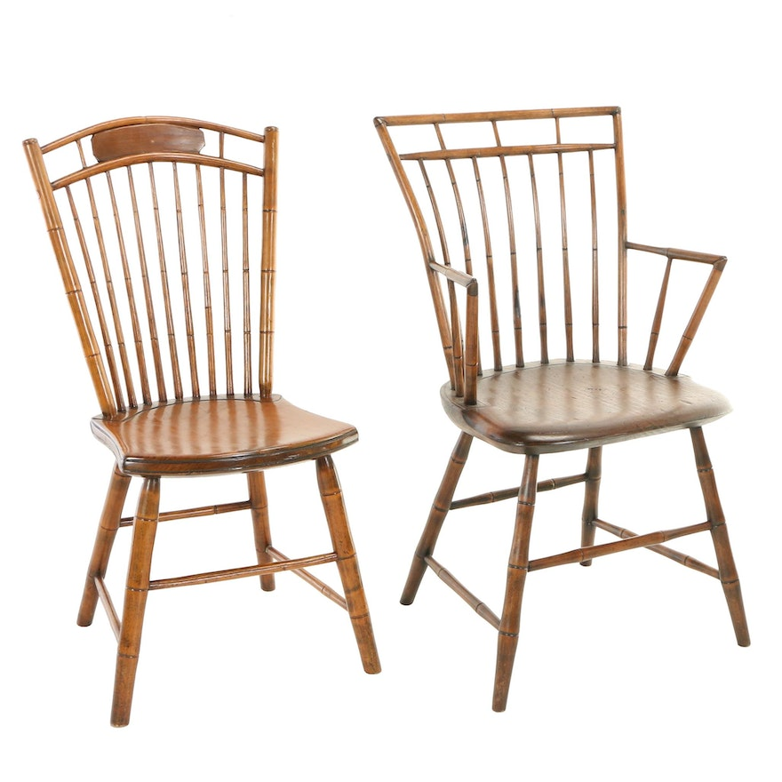 Two American Birdcage Windsor Chairs, 19th Century
