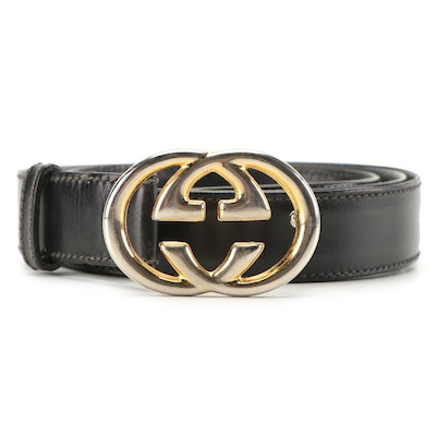 Gucci Black Leather Belt with GG Buckle, 1970s-80s Vintage