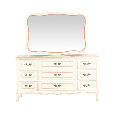 Painted Wood Chest of Drawers with Matching Wall Mirror