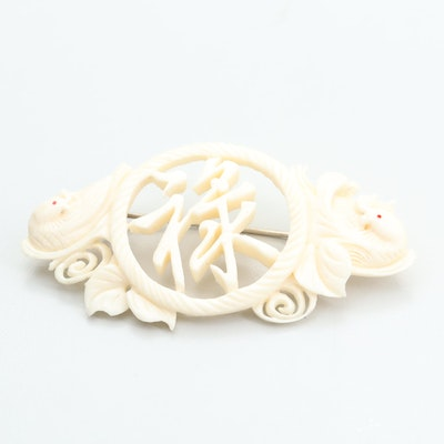Chinese Carved Bone Brooch