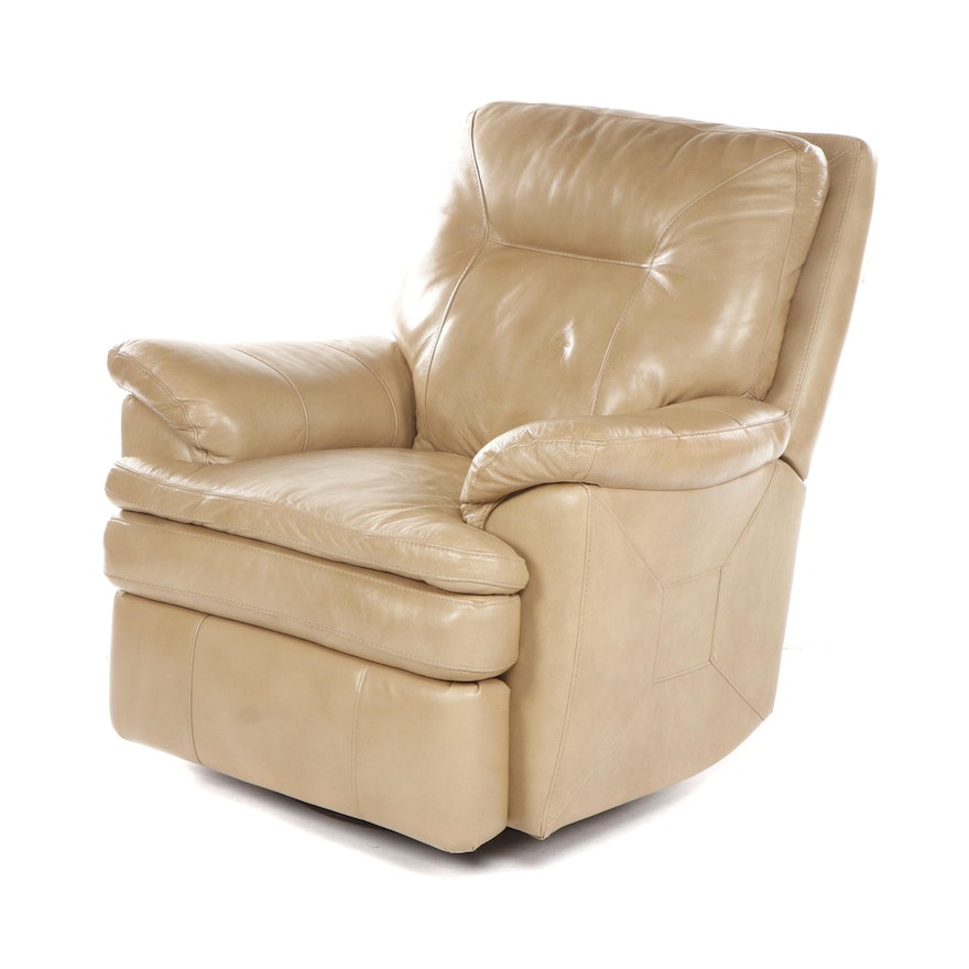 Modern Beige Upholstered Leather Recliner, Late 20th Century