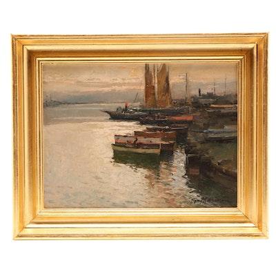 G. Mariani Harbor Scene Oil Painting