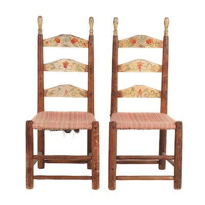 Hand-Made Pennsylvania Dutch Style Wooden Chairs