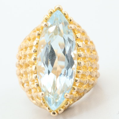 14K Yellow Gold 6.47 CT Aquamarine Openwork Ring