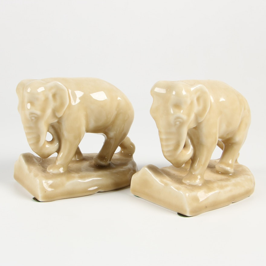 Rookwood Pottery Elephant Bookends, 1954