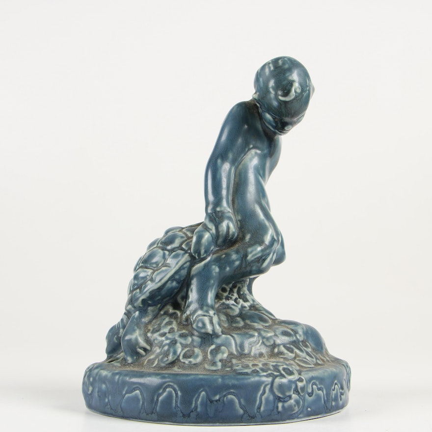Rookwood Pottery Satyr and Turtle Flower Frog, 1920