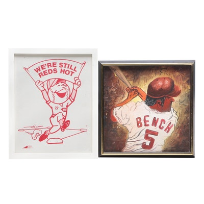 "Johnny Bench Acrylic Painting and ""We're Still Reds Hot"" Display"