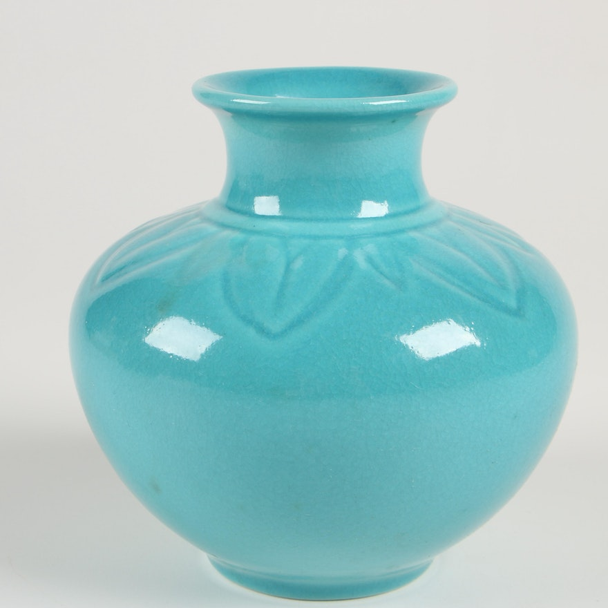 Rookwood Pottery Turquoise Vase, 1952