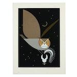 "Charley Harper 1975 Limited Edition Serigraph ""Pfwhoooo!"""