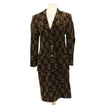 Giuseppe Zanotti Velvet Skirt Suit, 1980s Vintage