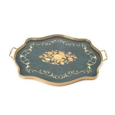 Italian Marquetry Inlaid Serving Tray