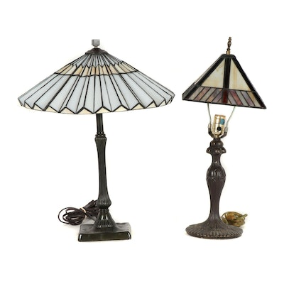 Cast Metal Table Lamps with Slag Glass Shades