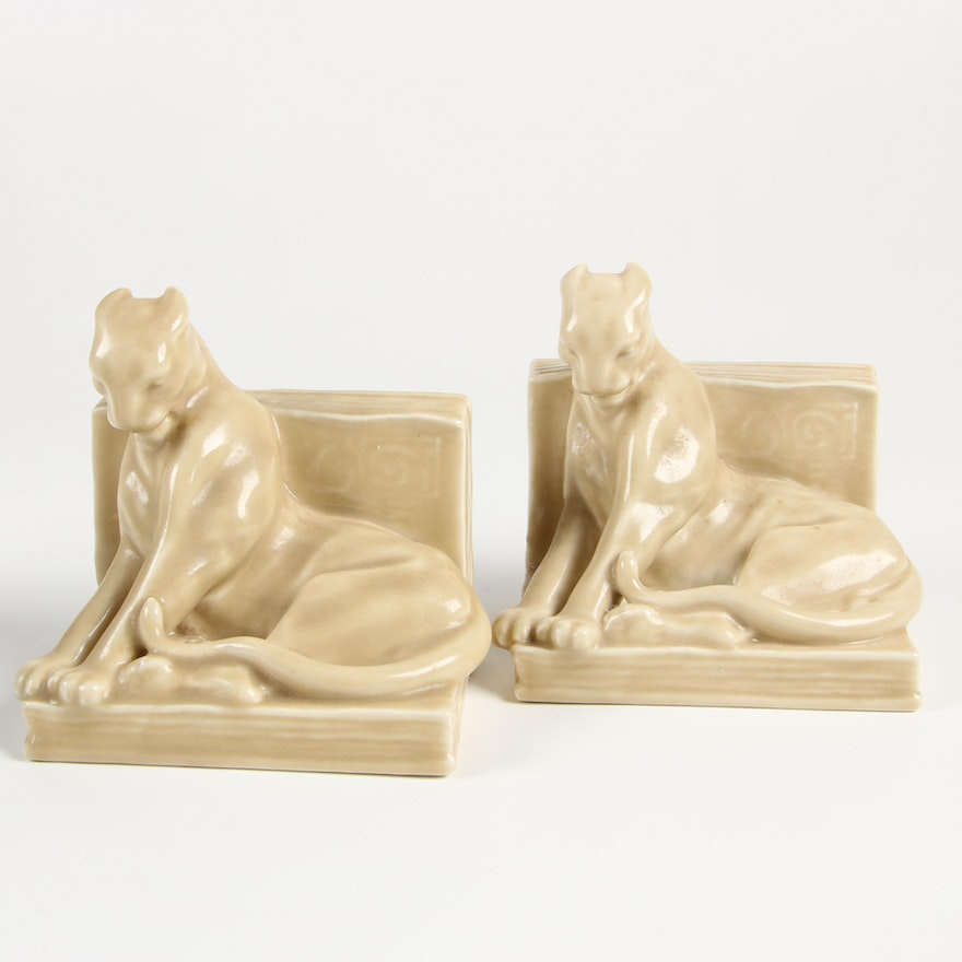 Rookwood Pottery Cream Panther Bookends after William McDonald, 1944