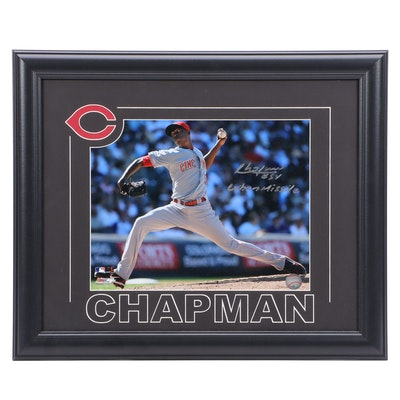 Aroldis Chapman Signed and Inscribed Framed Cincinnati Reds Photo Print, COA