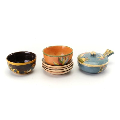 Hand-Painted Tlaquepaque Style Mexican Earthenware Tableware