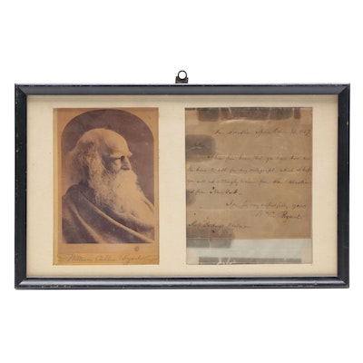 1857 Poet William Cullen Bryant Autograph Letter  with Photograph  Visual COA