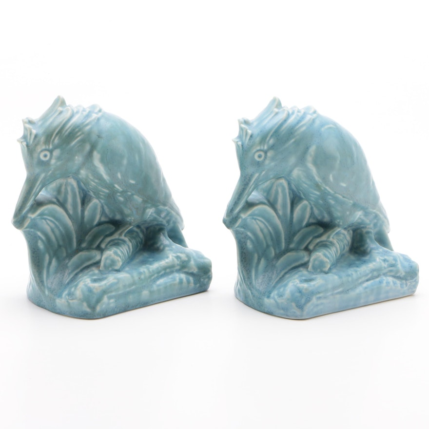 """Rookwood Pottery """"Kingfisher"""" Bookends Designed by William Purcell McDonald"""