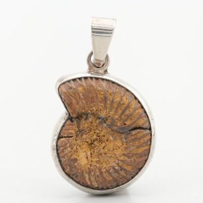 Sterling Silver Ammonite Fossil Pendant