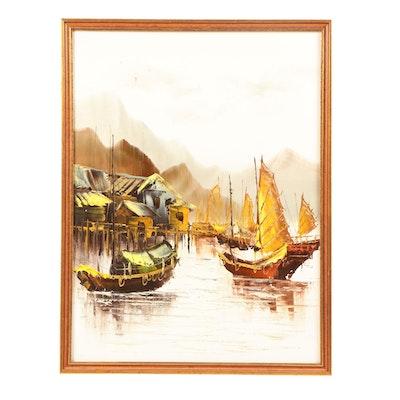 Mid 20th Century Acrylic Painting of Chinese Harbor Scene