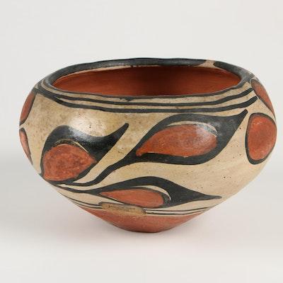 Santo Domingo Pueblo Polychrome  Slip Glazed Bowl, Early to Mid 20th Century