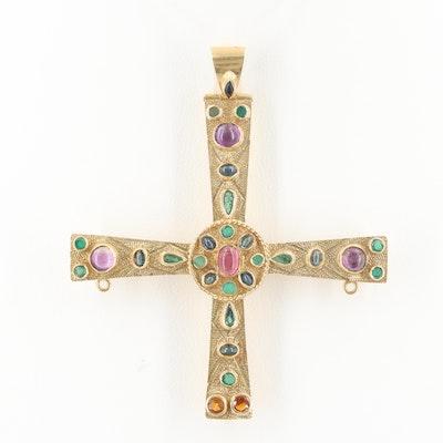 18K Yellow Gold Emerald, Amethyst, Sapphire and Pink Tourmaline Cross Pendant
