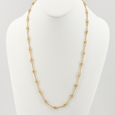 18K Yellow Gold Twisted Link Chain Necklace