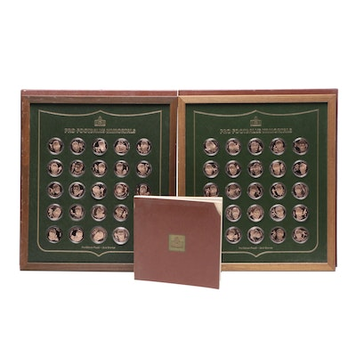 1973 Franklin Mint Pro Football Immortals Bronze Medallions with Display Cases