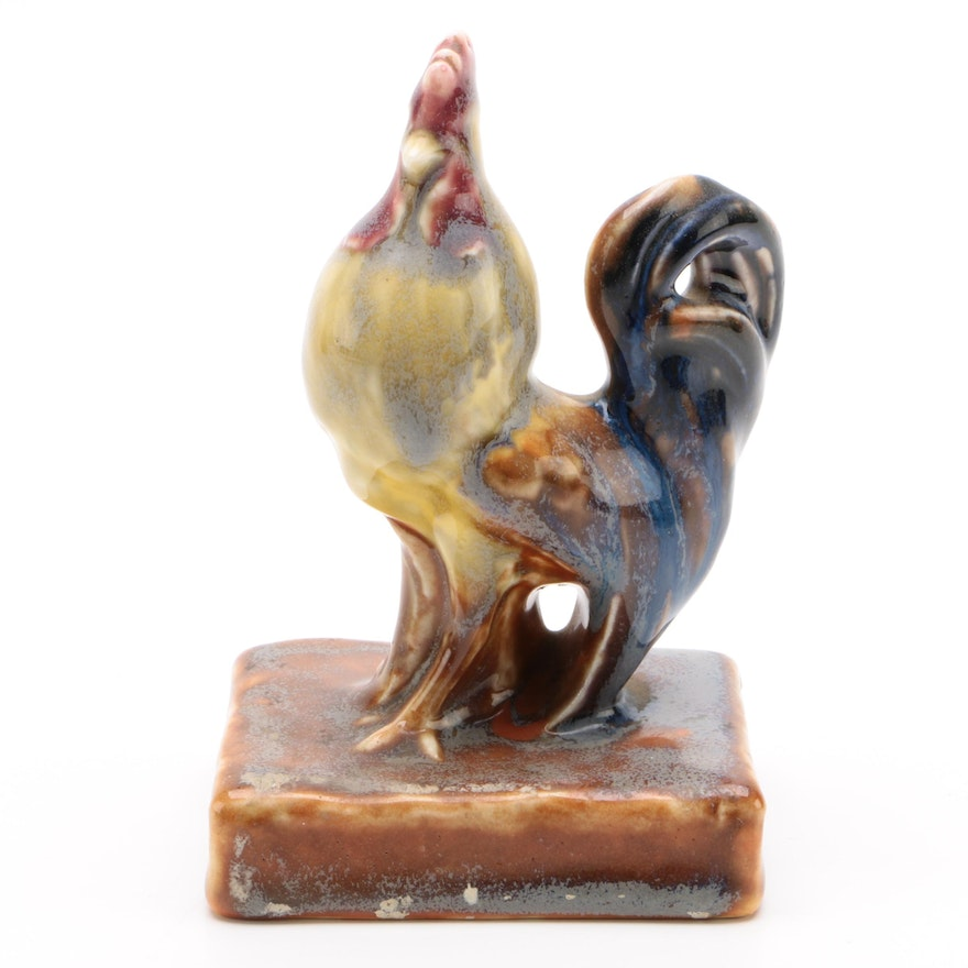 Rookwood Pottery Rooster Paperweight, 1928