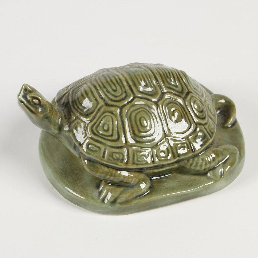 Rookwood Pottery Green Turtle Paperweight, 1999