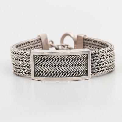 Sterling Silver Braided Herringbone Chain Bracelet | EBTH