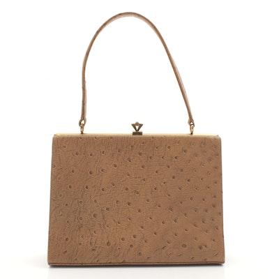 English Waldybag Ostrich Skin Handbag, 1960s Vintage