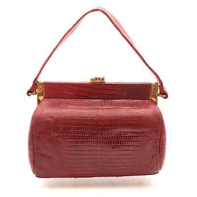 Red Lizard Skin and Leather Handbag, 1960s Vintage
