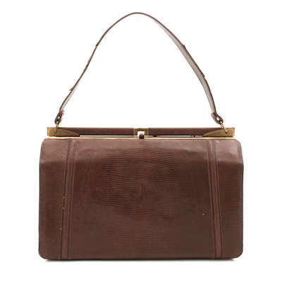 Brown Lizard Skin Handbag, 1960s Vintage