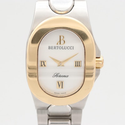 Bertolucci Serena 18K Gold and Stainless Steel Wristwatch With Mother of Pearl