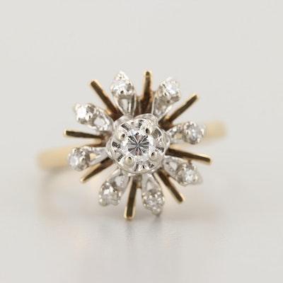 Circa 1950s 14K Yellow Gold Diamond Ring With Ballerina Setting