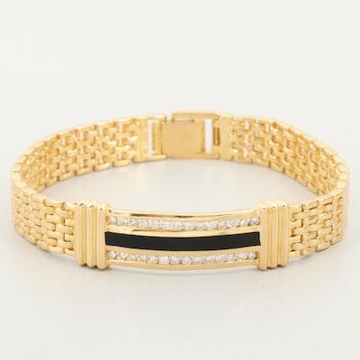 14K Yellow Gold Black Onyx and 1.12 CTW Diamond Bar Bracelet