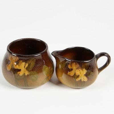 Leona Vera Van Briggle Rookwood Pottery Cream Jug and Sugar Bowl, 1900