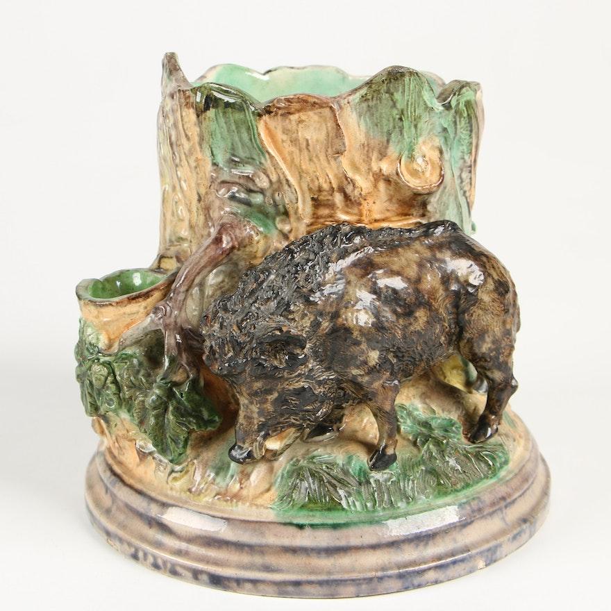 Majolica Ceramic Figural Wild Boar Cigar and Match Holder