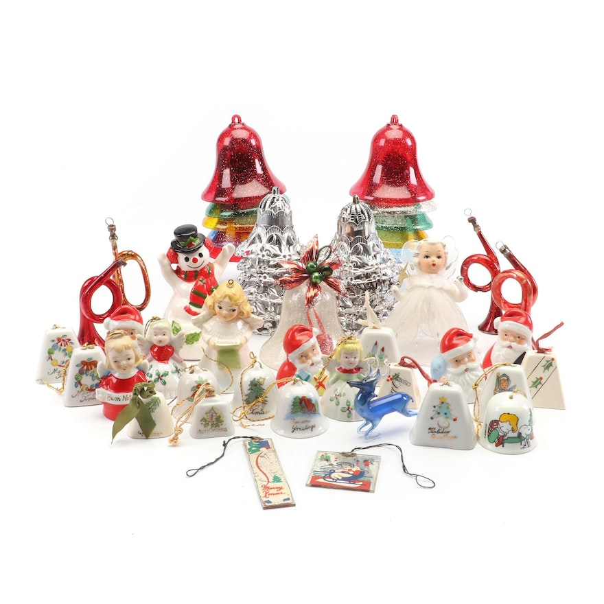 Vintage Christmas Decorations 1950s.Vintage Christmas Ornaments And Bells Including Goebel And