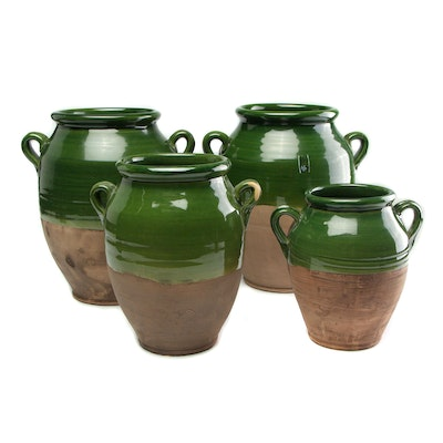 Global Views Italian Reproduction Green Glazed Earthenware Confit Jars