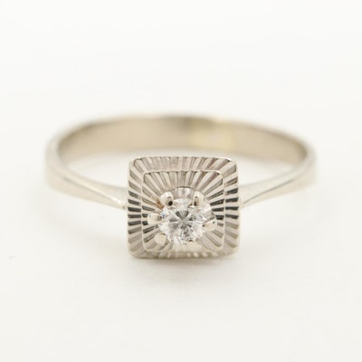 Vintage 18K White Gold Diamond Solitaire Ring