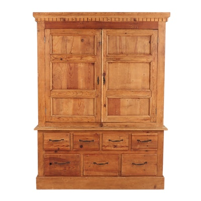 Mexican Pine Armoire Cabinet with Key
