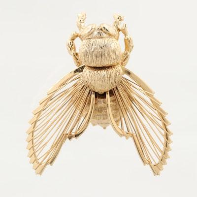 Gold Tone Bee Brooch