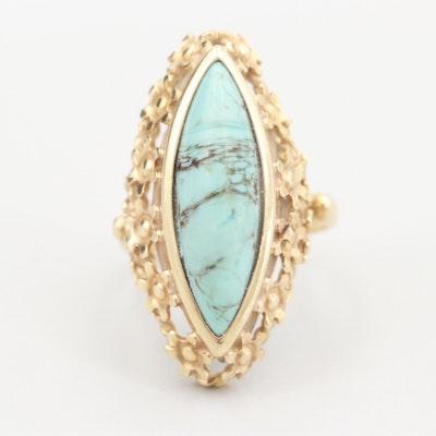 14K Yellow Gold Imitation Turquoise Ring