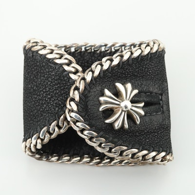Chrome Hearts Sterling Silver Leather Cuff