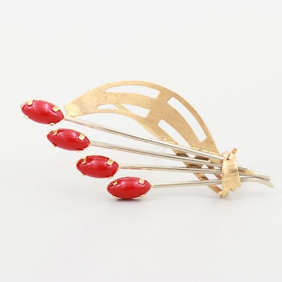 Vintage 18K Yellow and White Gold Coral Brooch