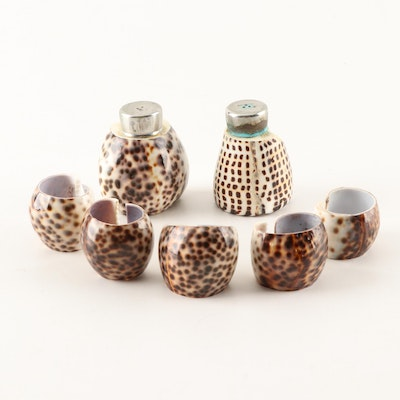 Cowrie Shell Salt & Pepper Set and Napkin Rings