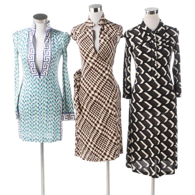 Diane von Furstenberg Mixed Print Silk Dresses Including Sleeveless Wrap Dress